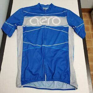 Aero Tech Designs Mens 2XL Blue Full Zip Cycling Short Sleeve Jersey Shirt USA