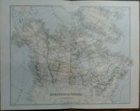 Antique map of the Dominion of Canada - 19th century Victorian colour map print