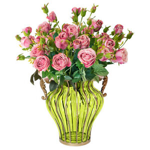 SOGA Green Glass Vase and 10 Bunch Artificial Silk Fake Rose 6 Heads Flower Set