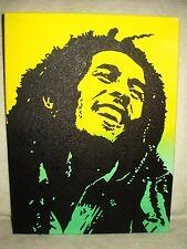 Canvas Painting Bob Marley Yellow & Green Art 16x12 inch Acrylic