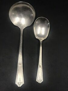 Vintage Rogers Anchor AA Pat Apld For Silver Plate Gravy Ladle & Cream Spoon