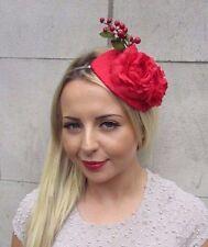 Red Camellia Berry Flower Fascinator Teardrop Races Headband Wedding Vtg 3197