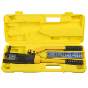Hydraulic Wire Terminal Crimper Battery Cable Lug Crimping Tool w/Dies 16 Ton