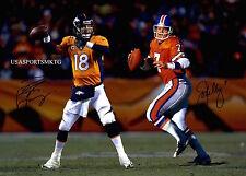 Broncos John Elway Peyton Manning Signed 8x10 Photo Reprint Autographed RP