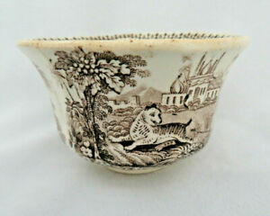 Staffordshire England Brown Transferware Handless Cup ~ Tiger Hunt in India  #73