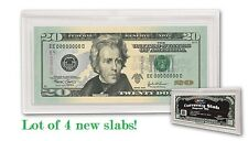 Lot 4 BCW Currency Banknote Slabs Regular Modern Size Notes Dollar Bill Plastic