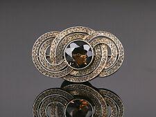 Theodor Fahrner - ovale Brosche Rauchquarz Art Deco – Silber vergoldet