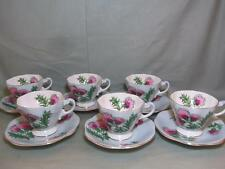 6 Glengarry Thistle Tea Cups & Saucers  Foley China E.Brain & Co.