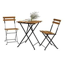 3 Pieces Folding Dining Table Set Chairs Wooden Kitchen Breakfast Bar Furniture