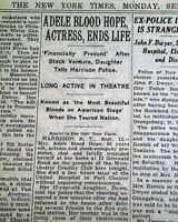ADELE BLOOD Silent Film & Vaudeville Actress SUICIDE Death 1938 NYC Newspaper