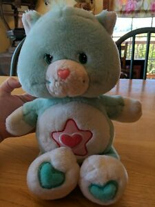 "Care Bear Cousins Plush 13"" Proud Heart Cat 2004 Blue Red Heart Star Vintage"