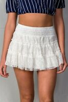Ivory Ruffle Tier Lace Pull-on Smocked Waistband Lined Mini Skirt S M L
