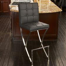 Oliver Stainless Steel Modern Design Black Leather Bar Stool Kitchen barstool