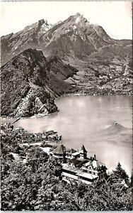 RPPC Switzerland Stansstad Hotel Fürigen above Lake Lucerne Mt. Pilatus S20