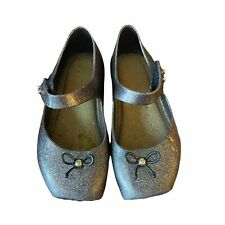 Mini Melissa Dark Purple Glitter Square Toe Mary Jane Jelly Shoes Girls Size 9
