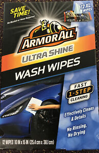 Armor All Ultra Shine 12 Ct Wash Wipes Cleaner Auto Car Truck RV Boat Motorcycle