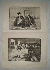 """PAIR VINTAGE 19TH C. PENCIL SIGNED HONORE DAUMIER ETCHINGS """"Les gens De Justice/"""