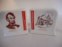 Vintage art deco white red ceramic Salt & Pepper Set Lincoln Gettysburg souvenir