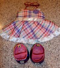 Build-A-Bear Workshop Pink Plaid Girls Dress w/ Accessories, Shoes, Glasses