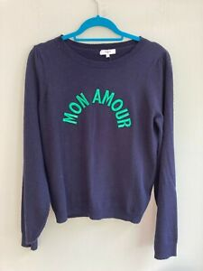 JUMPER BY SUNCOO SIZE 14 CASHMERE/WOOL MIX ' MON AMOUR ' TO FRONT NAVY BNWT