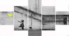 Extra Large Five Piece Set Banksy Yellow Balloon Hope Graffiti Canvas Picture