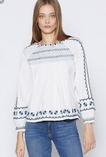 New Joie Arisha Embroidered Peasant Blouse Top Size Small $228