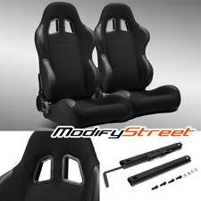 2 x Black Pineapple Fabric/Pvc Leather Left/Right Racing Bucket Seats + Slider
