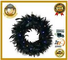 Halloween Feather Wreath For Home Front Door Orange Purple Lights 40 LED 8 Modes