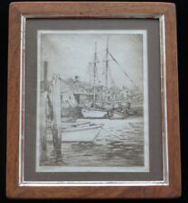 Cape Ann Gloucester Massachusetts Harbor sail boat Etching SIGNED John Jackson