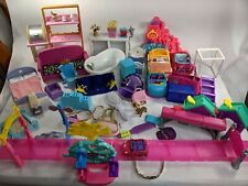 Large Lot Barbie Or Other Dollhouse Wooden Furniture, Toys Accessories, Cars