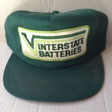 1980s INTERSTATE BATTERIES TRUCKER BASEBALL CAP HAT, GREEN FOAM, USA, VINTAGE