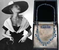 VINTAGE 1950s SAPPHIRE BLUE RHINESTONE CRYSTAL FRINGE NECKLACE BRIDAL PARTY GIFT