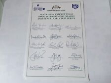 Australia Cricket Team 1996 / 97 Ansett Test Series Pre Printed Autograph Sheet