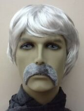 GREY SHORT FANCY DRESS Wig & THICK DROOP MOUSTACHE. SELF ADHESIVE. UK DISP
