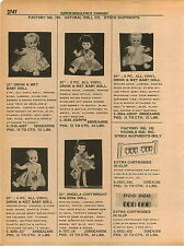1961 ADVERT Natural Doll Co Vinyl Drink & Wet Baby Dolls Angela Cartwright Walks