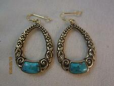 BARSE GP STERLING SILVER DANGLE FLORAL OPEN OVAL EARRINGS W/ TURQUOISE ACCENTS