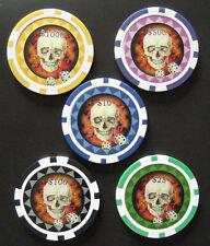 d 5 POKER LASER CHIPS / SKULL - DICE Spielwerte $25 (#) 22.10