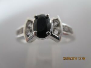 GENUINE SAPPHIRE & WHITE TOPAZ RING IN SOLID 925 STERLING SILVER Sz O