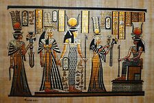 Egyptian Hand-painted Papyrus - Queen Nefertari making an offering to Isis