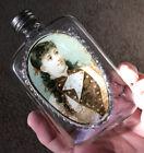 Blown Flask Whiskey Label Under Glass 1880s  Victorian Pretty Lady Pocket Bottle