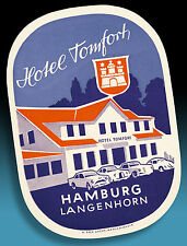 ALTER KOFFERAUFKLEBER LUGGAGE LABEL 50er HOTEL TOMFORT   VW KÄFER BORGWARD ETC.