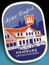 ALTER KOFFERAUFKLEBER LUGGAGE LABEL 50er HOTEL TOMFORT > VW KÄFER BORGWARD ETC.
