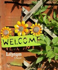 Garden Flower Welcome Hanging Signs Plaque Metal Wall Fence Home Summer Decor