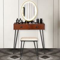 Makeup Dressing Vanity Table Stool Set w/ Touch LED Light Bedroom Makeup Table