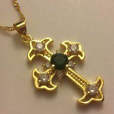 "C oro riempito Cross & 18"" Catena, verde smeraldo + diamanti SIM giftboxed Plum UK"