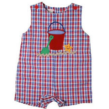 Cute Petit Ami Red Blue Plaid Baby Boy Shortall Romper w/Sand Pail, Cotton Blend