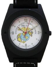 U.S. Marines Military Emblem Watch In Gun Metal Black Case With Compass On Strap