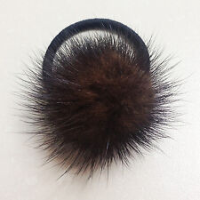 Real mink fur fluffy big brown pom pom hair scrunchie ponytail holder