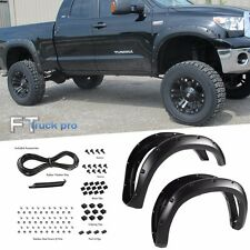 Paintable For 2007-2013 Toyota Tundra Pocket Riveted Fender Flares Smooth Black