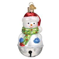 Old World Christmas Jingle Bell Snowman Glass Tree Ornament 24186 FREE BOX New
